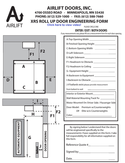 Alaska Door Measurement Form
